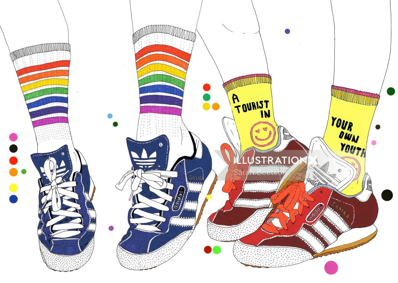 Sneakers fashion illustration