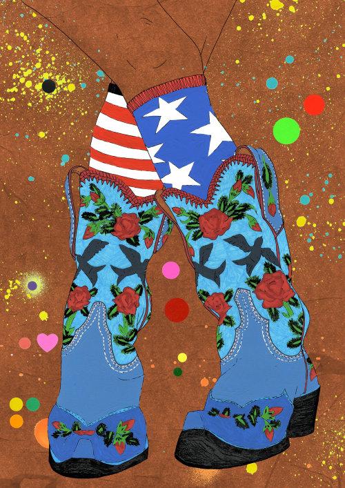 Pintura gráfica pop de sapatos