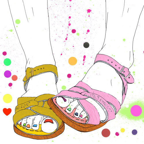 Fashion illustration of different color sandals