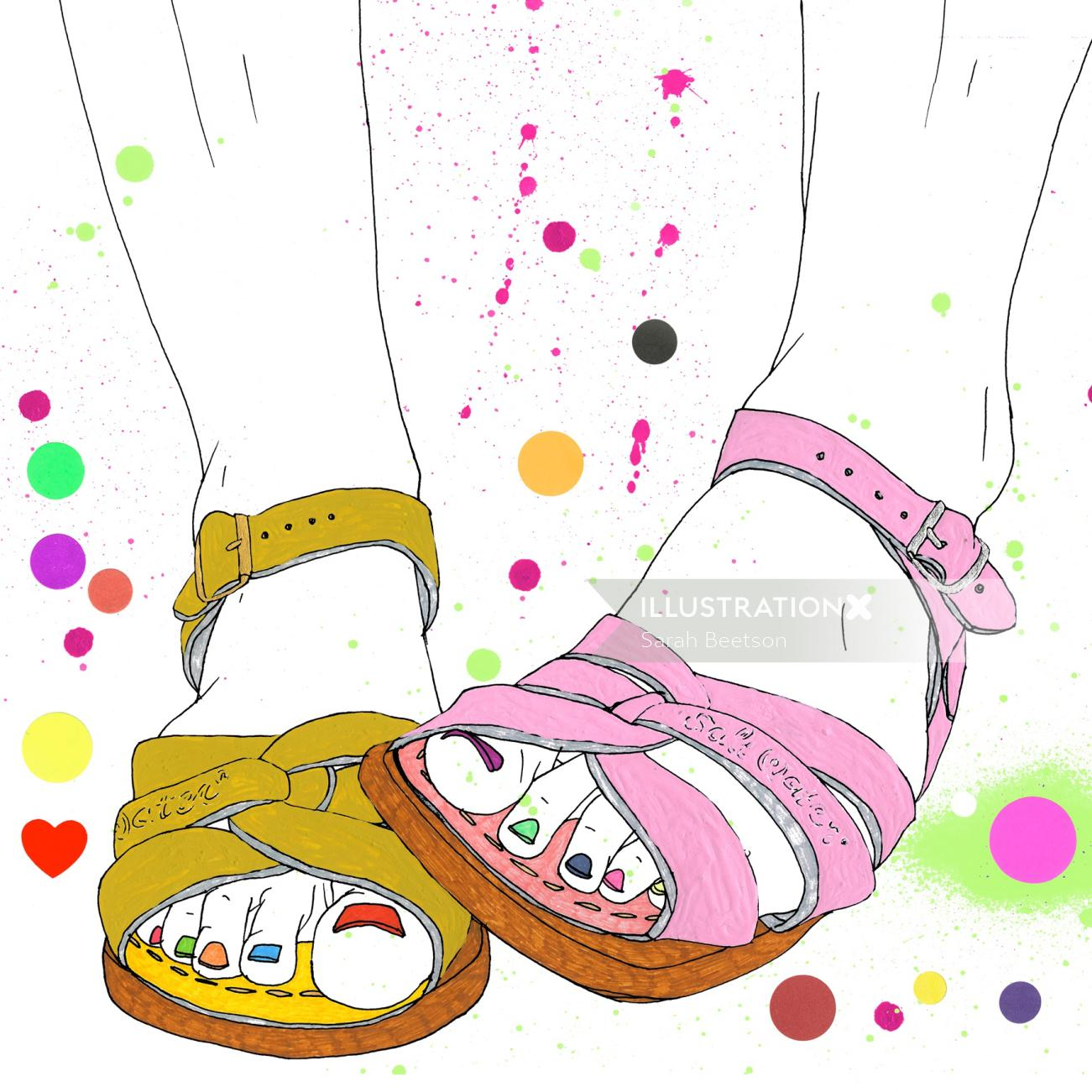 Fashion illustration of different color sandals
