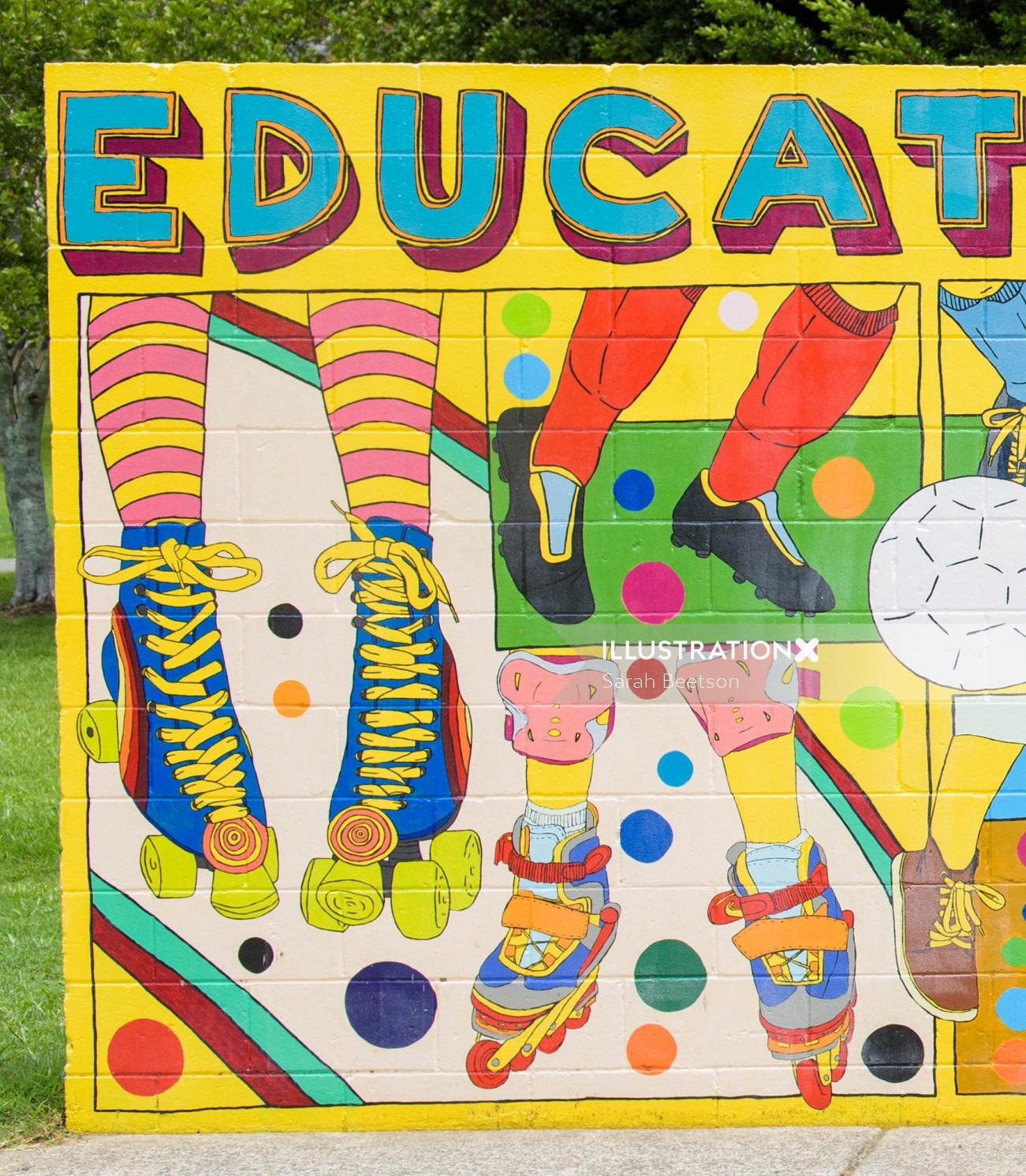 Educate Street art mural
