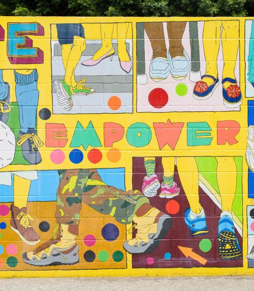 Capacite o mural de arte de rua