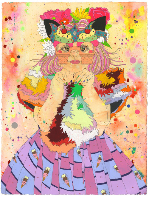 Colourful fashion illustration of Miss Millys Meaow
