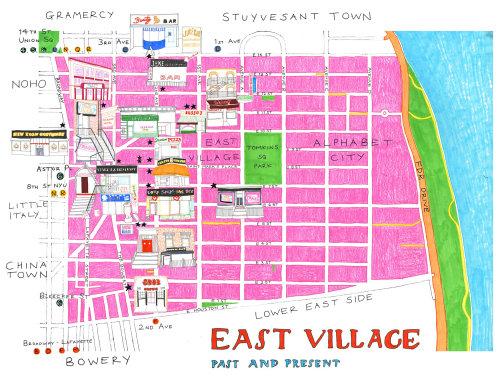 Ilustração do mapa da aldeia leste