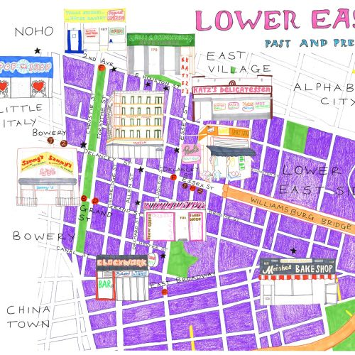 Lower east street map illustration