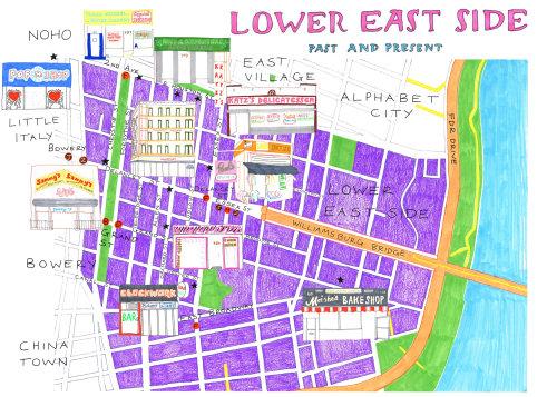 Ilustração do mapa da rua Lower East