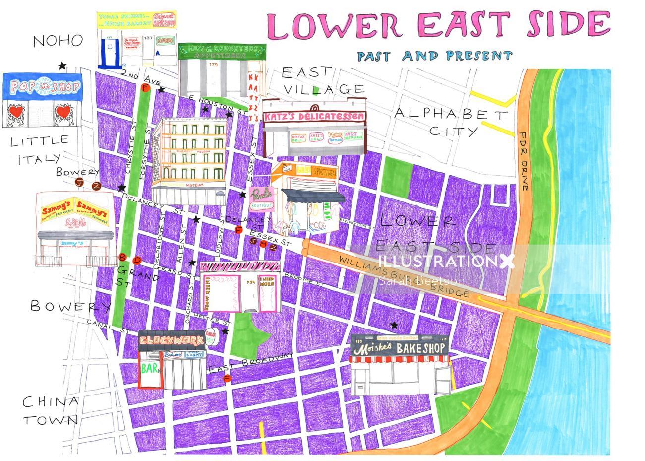 Lower east street map illustration