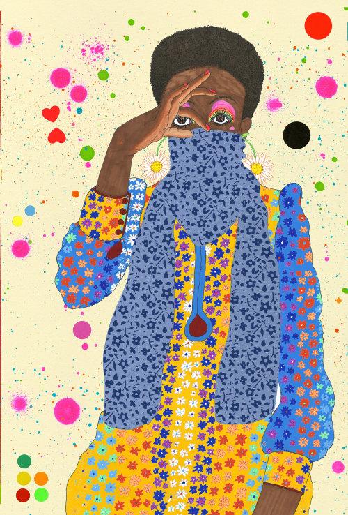 Ilustração de moda de vestido floral colorido