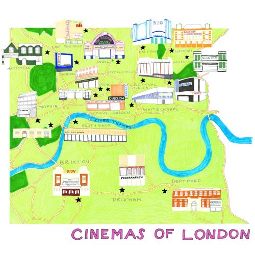 London cinemas! map illustration by Sarah Beetson