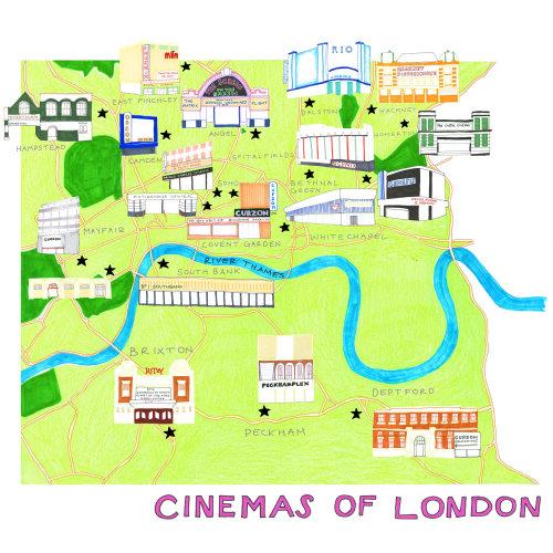 Cinemas de Londres! ilustração do mapa por Sarah Beetson