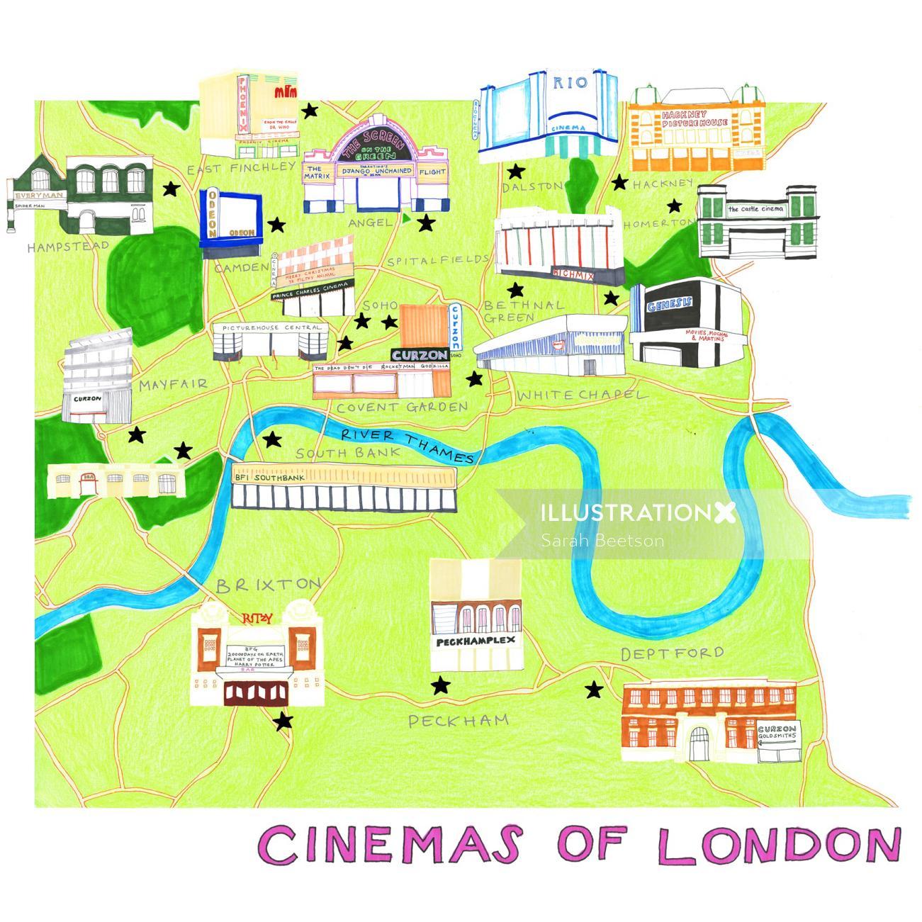 London cinemas! map illustration by Sarah Beetson