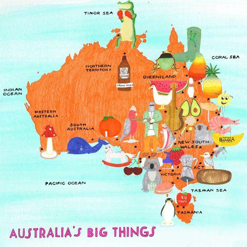 Map illustration of Australia's Big Things