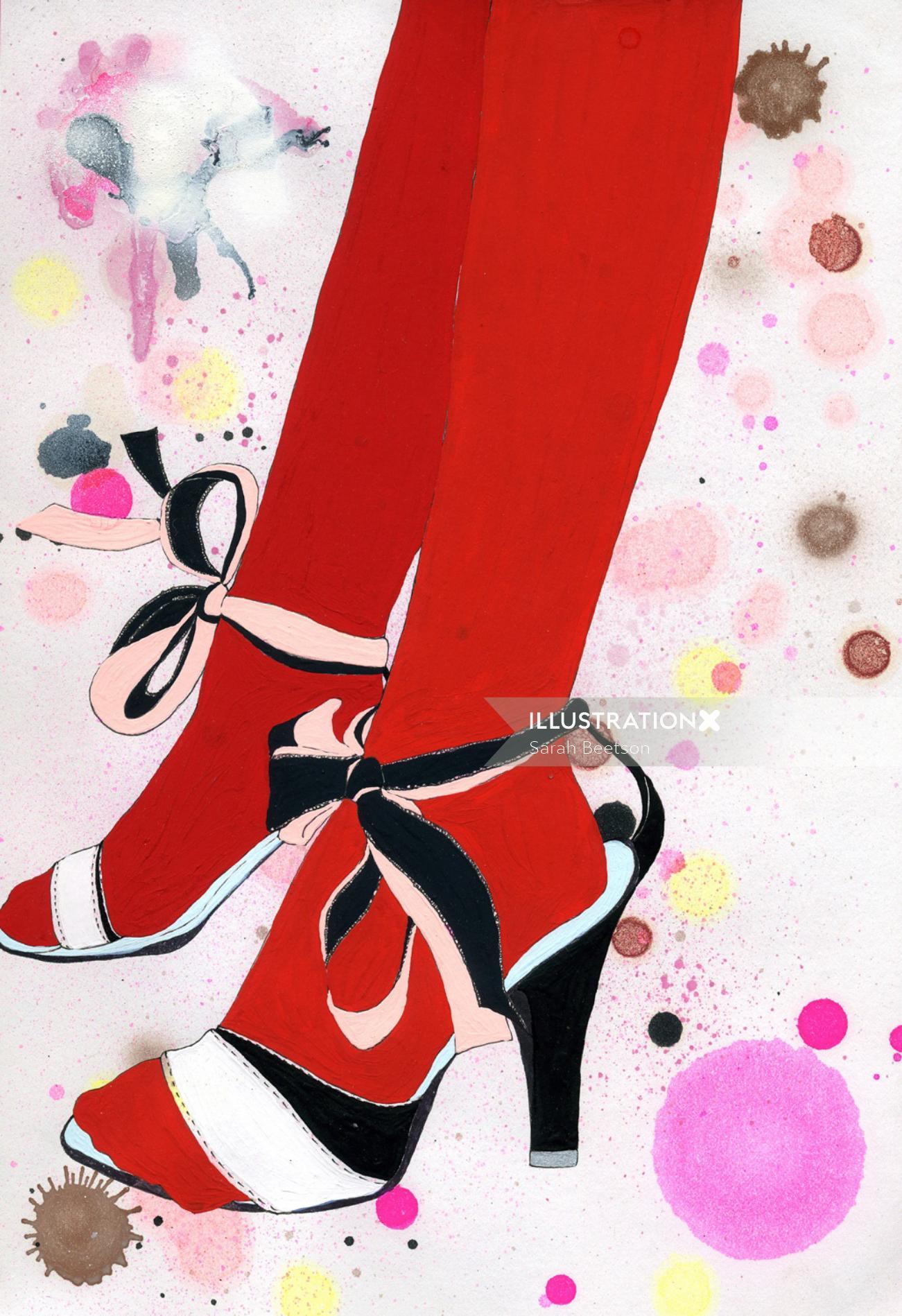 Ladies heels footwear illustration by Sarah Beetson