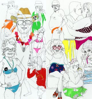 Beach clothing illustration by Sarah Beetson