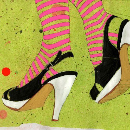 An illustration of lady heels footwear