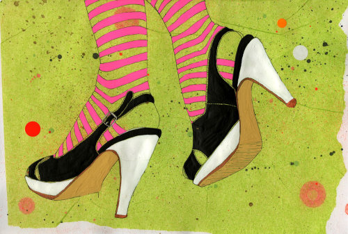An illustration of lady heels footwear