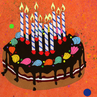 Birthday cake with candles - An illustration by Sarah Beetson