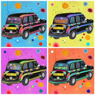 An illustration of London black cabs