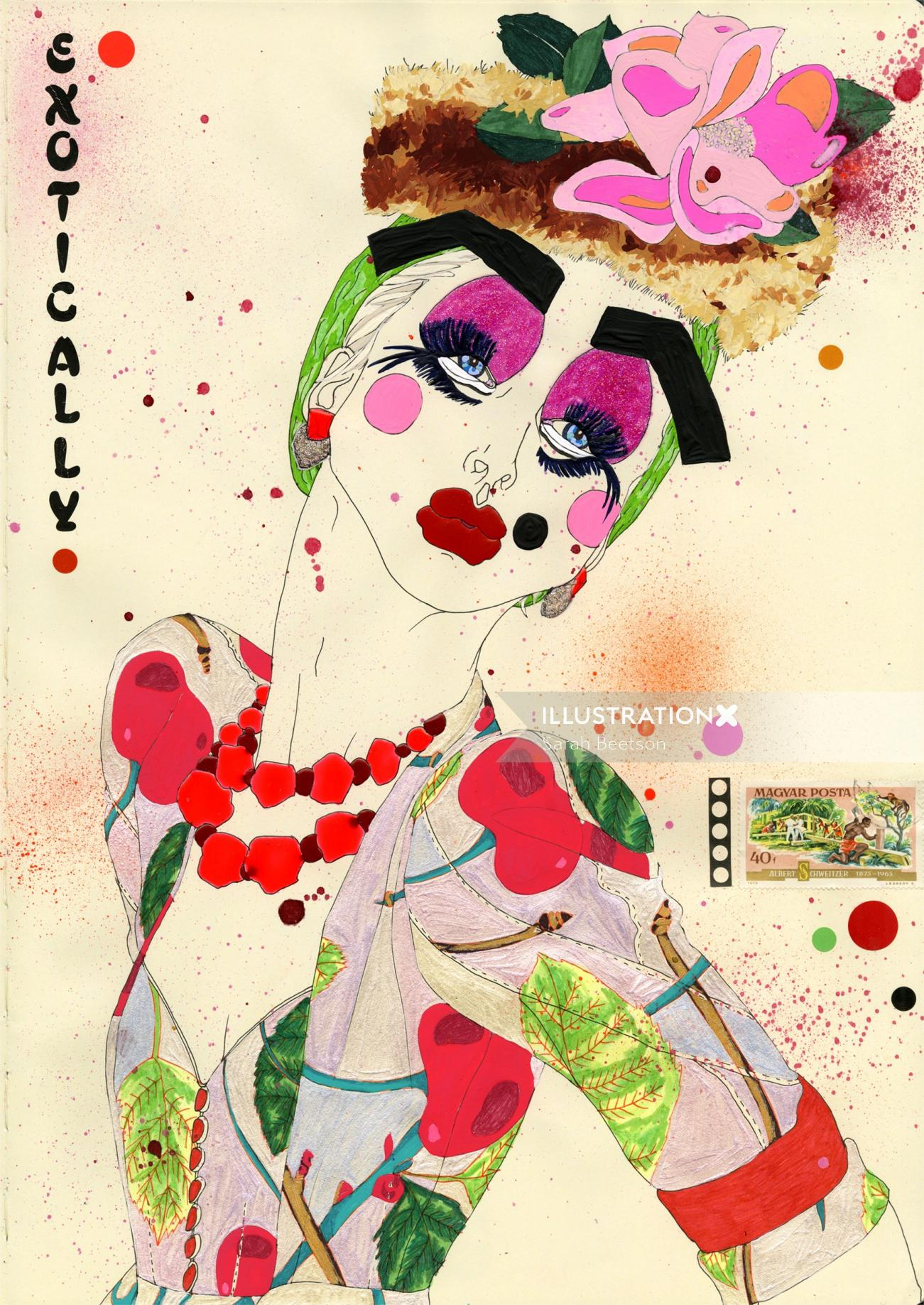 Exotically John Galliano illustration by Sarah Beetson