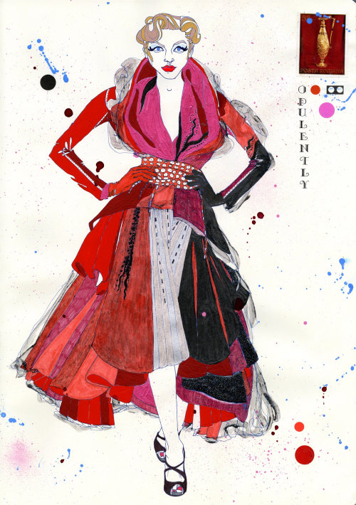 Opulently John Galliano illustration by Sarah Beetson