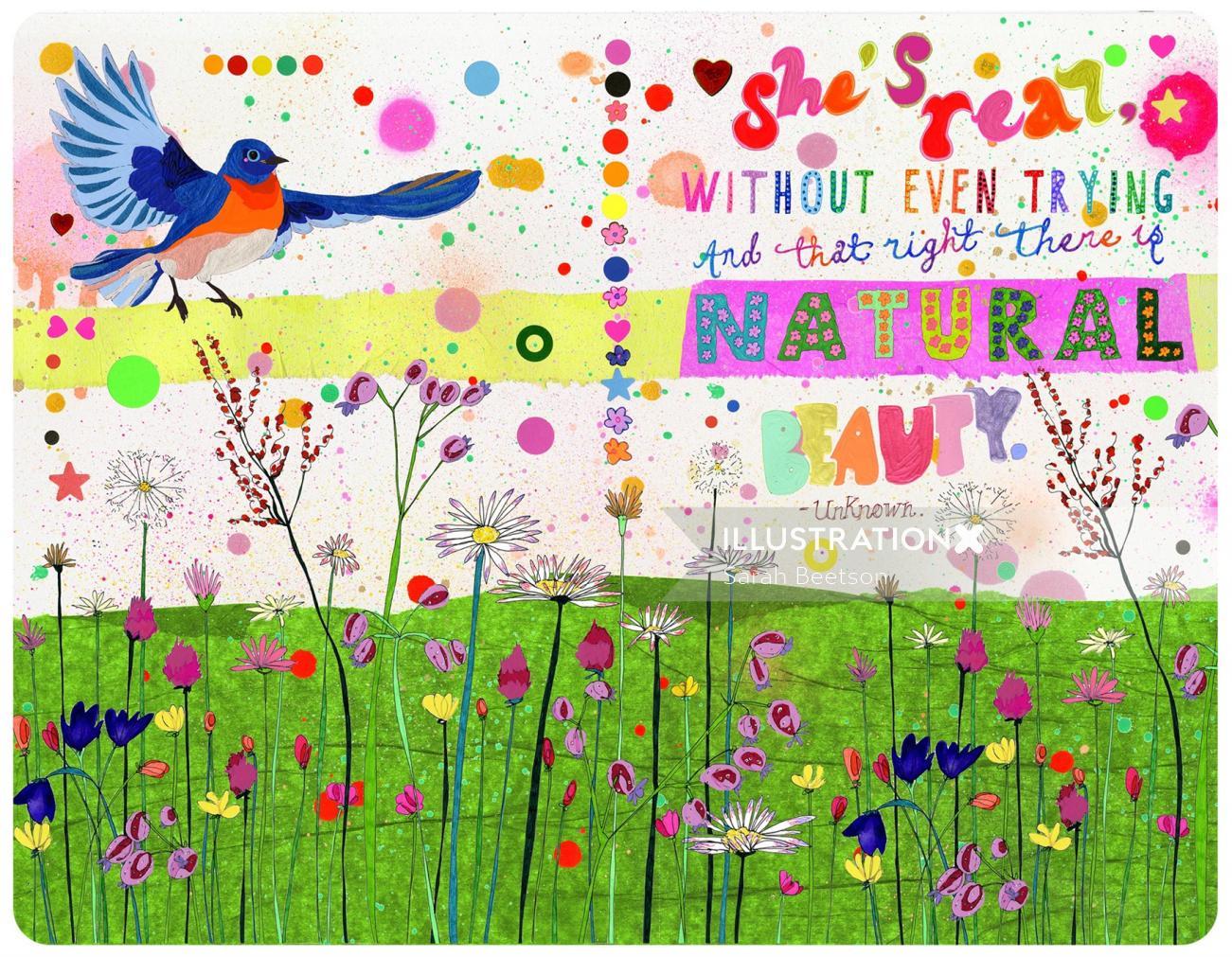 Bird flying - Illustration by Sarah Beetson