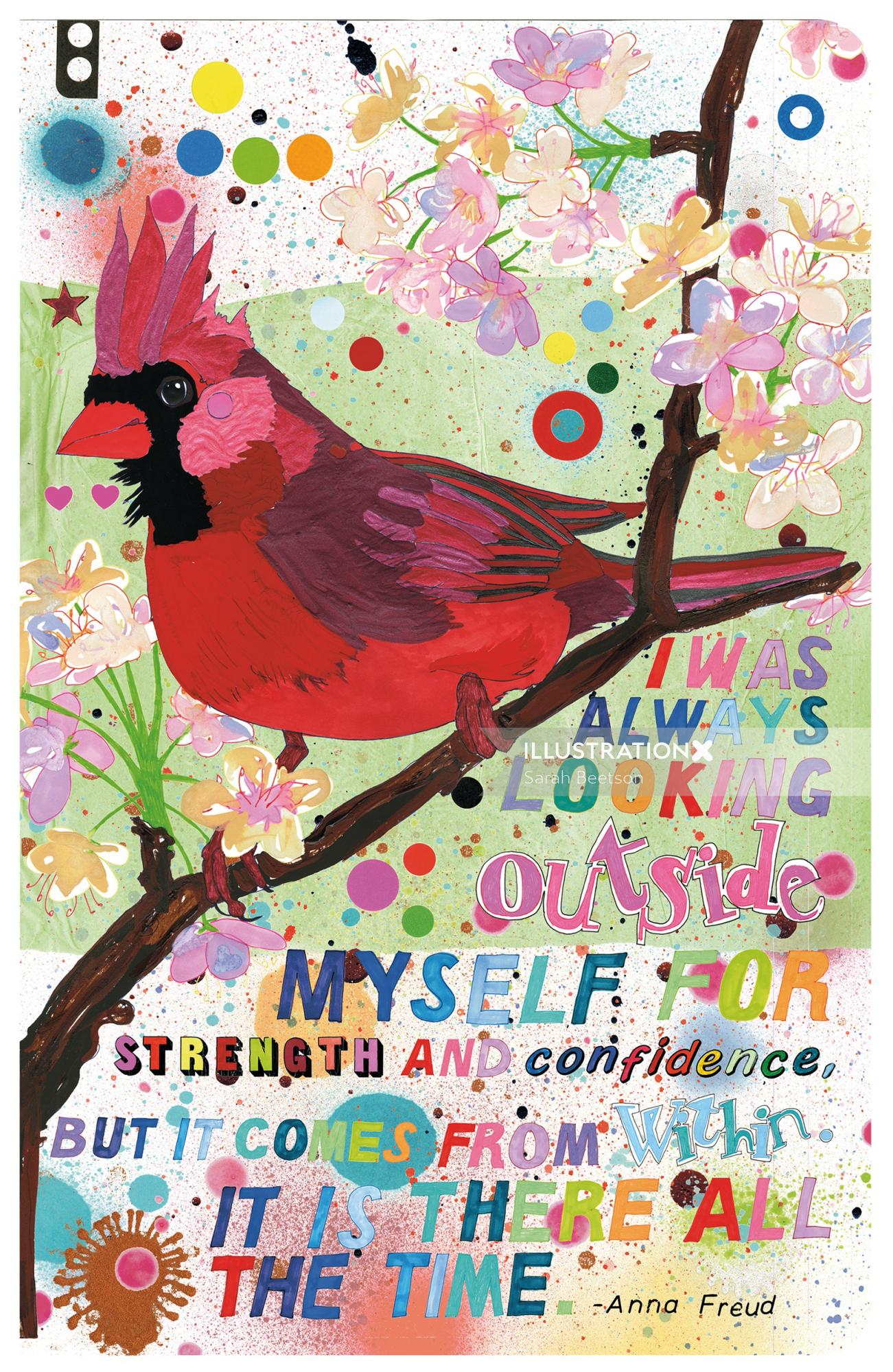 Red parrot | Aves illustration collection