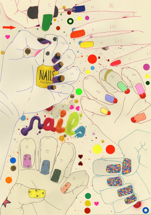 Coloured nails illustration by Sarah Beetson