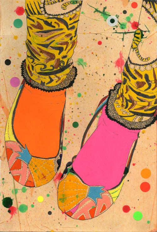 Ilustração de calçados femininos por Sarah Beetson