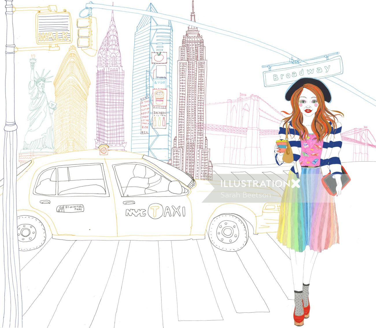 Scene New York City illustration by Sarah Beetson