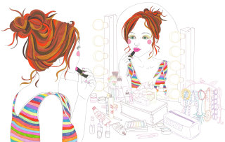 Putting on makeup at dressing table - An illustration by Sarah Beetson