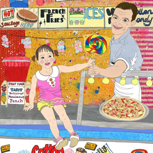 Girl holing loppy pop - Illustration by Sarah Beetson