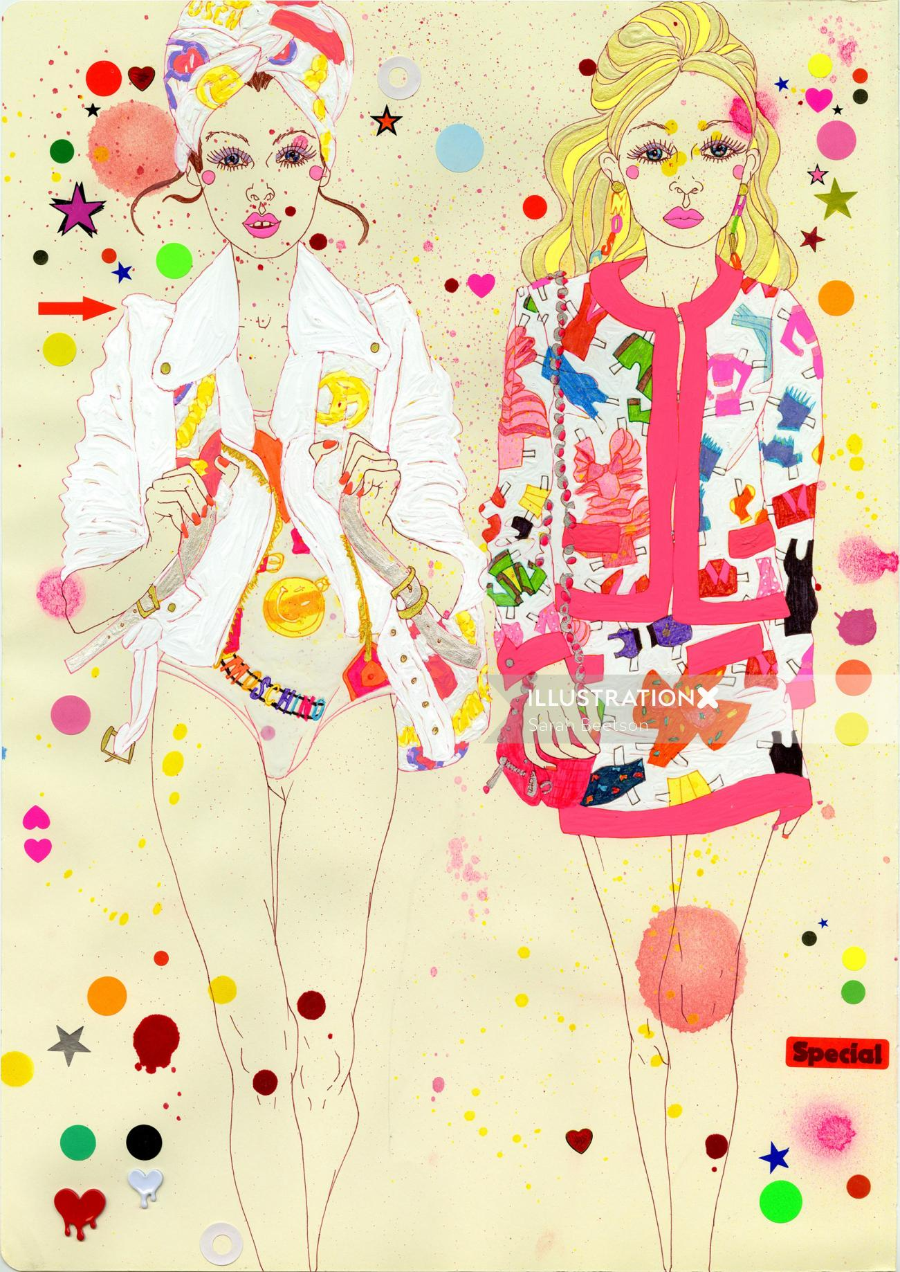 Women fashion illustration by Sarah Beetson