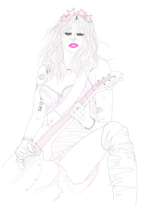 An illustration of Courtney Love