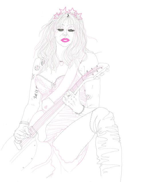 Uma ilustração de Courtney Love
