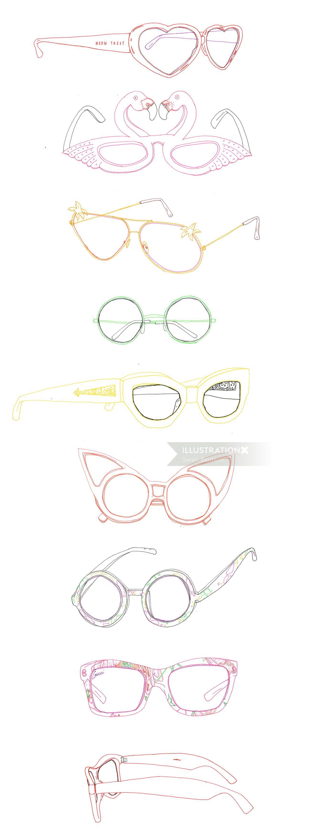 An illustration of summer sunglasses
