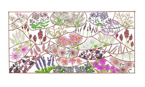 Design gráfico de diferentes tipos de flores