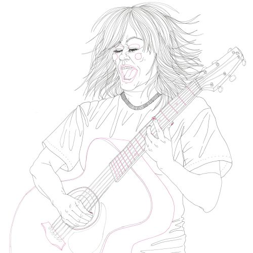 Line drawing of Kim Deal