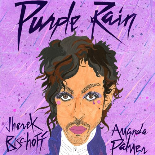 Graphic lettering art of purple rain