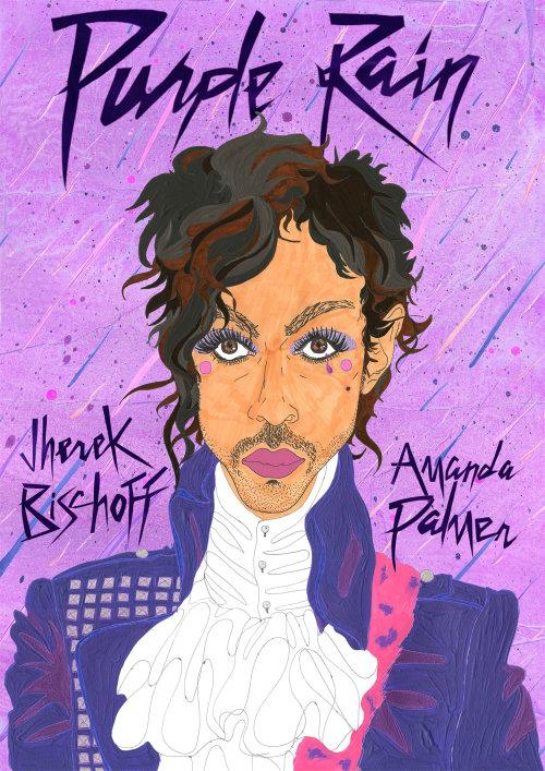 Graphic lettering art of purple rain