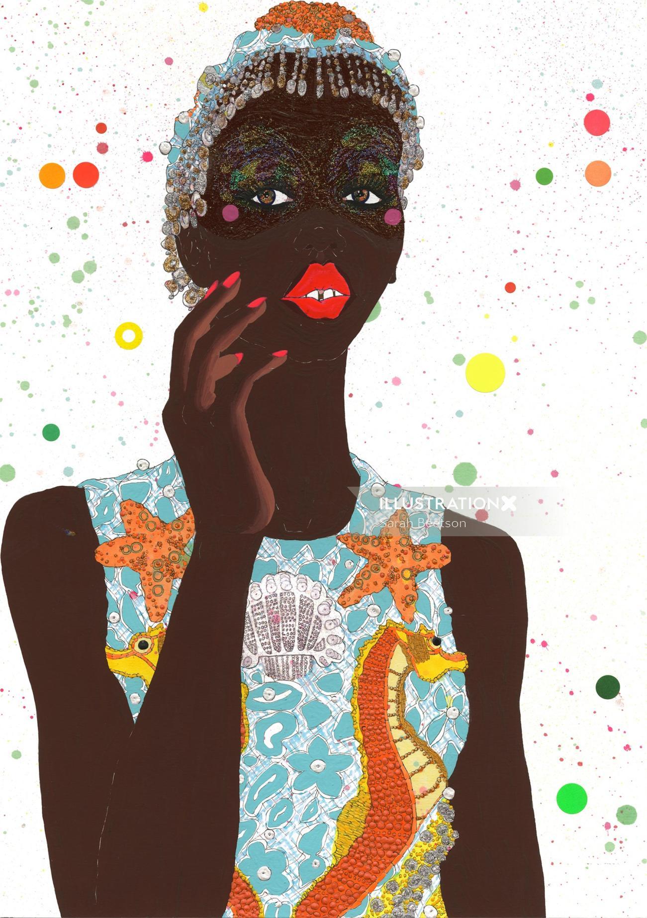 Acrylic portrait of black woman