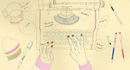 Graphic design of typewriting