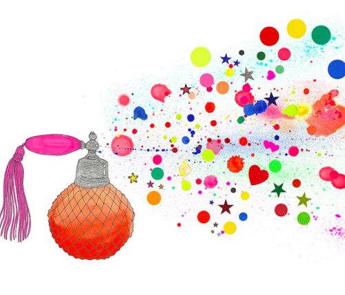 Animação de spray de perfume com cores