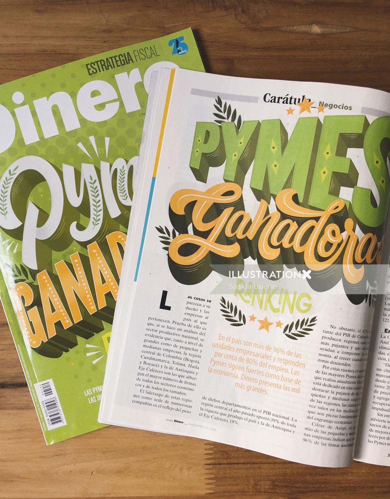 Book page lettering of Pymes Ganadoras