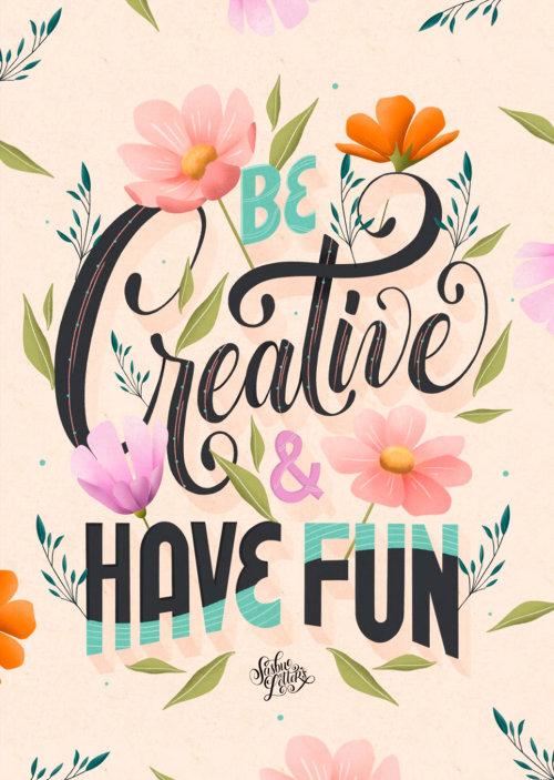 Letras de arte de ser criativo e se divertir