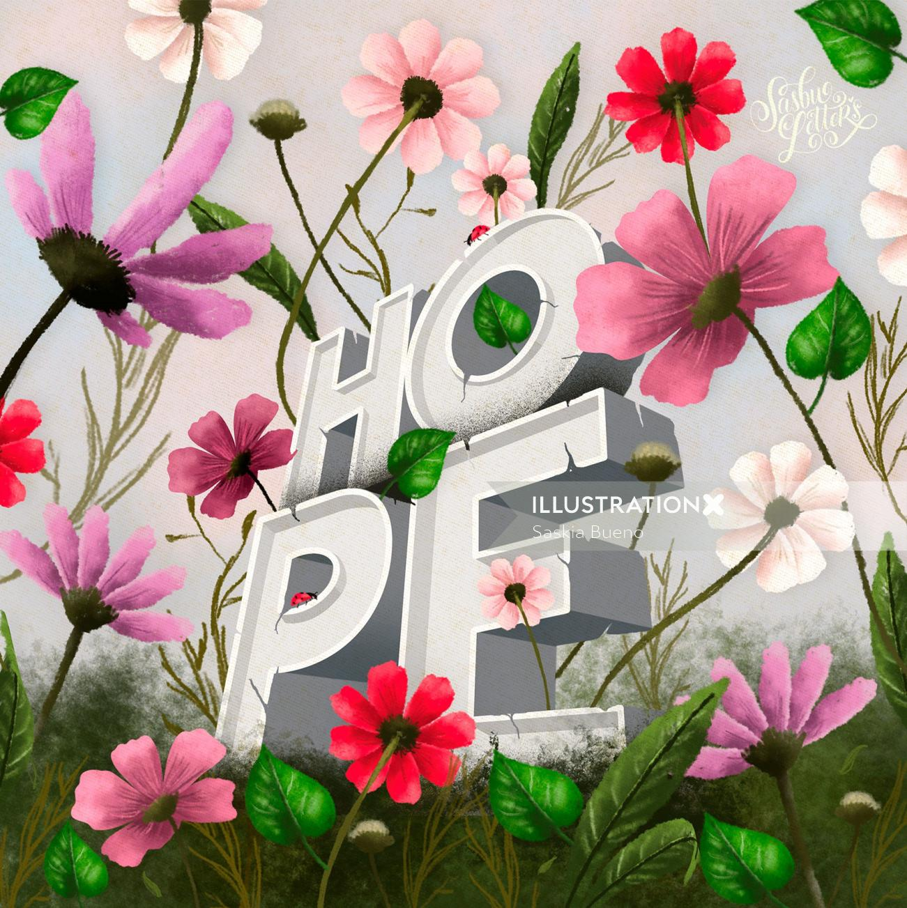 Lettering art of where there is life there is hope