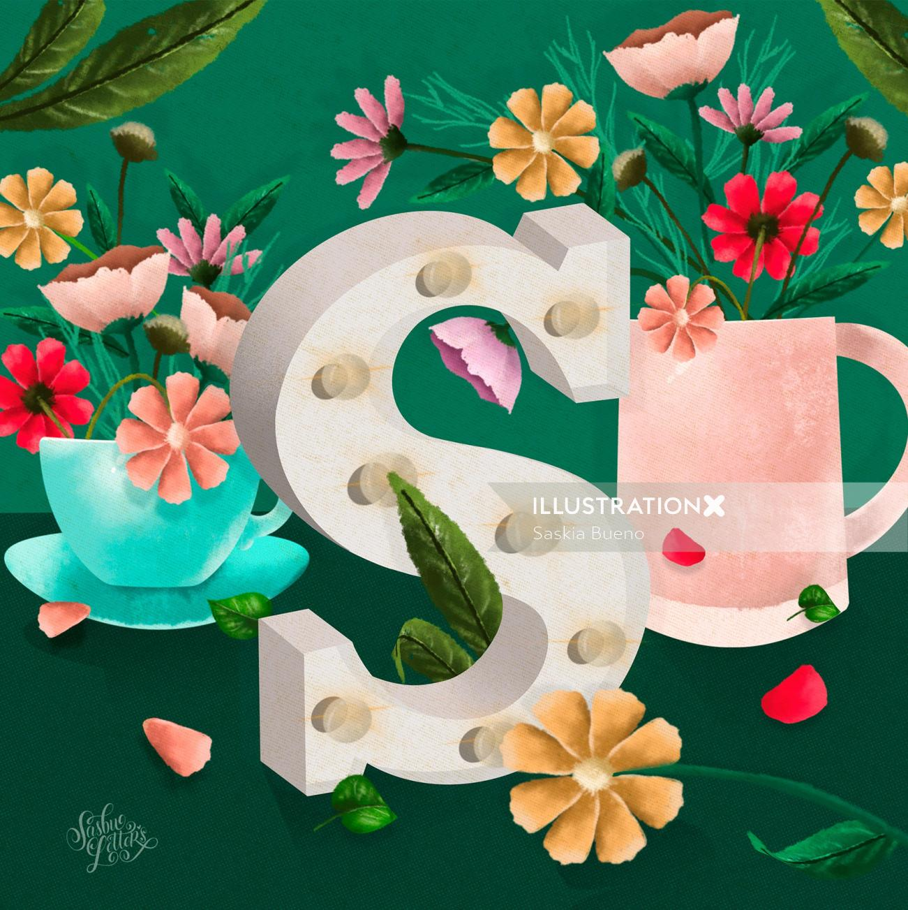 Calligraphy design of letter s