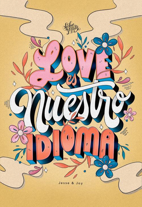 Amo a ilustração do lettering Nuestro Idioma