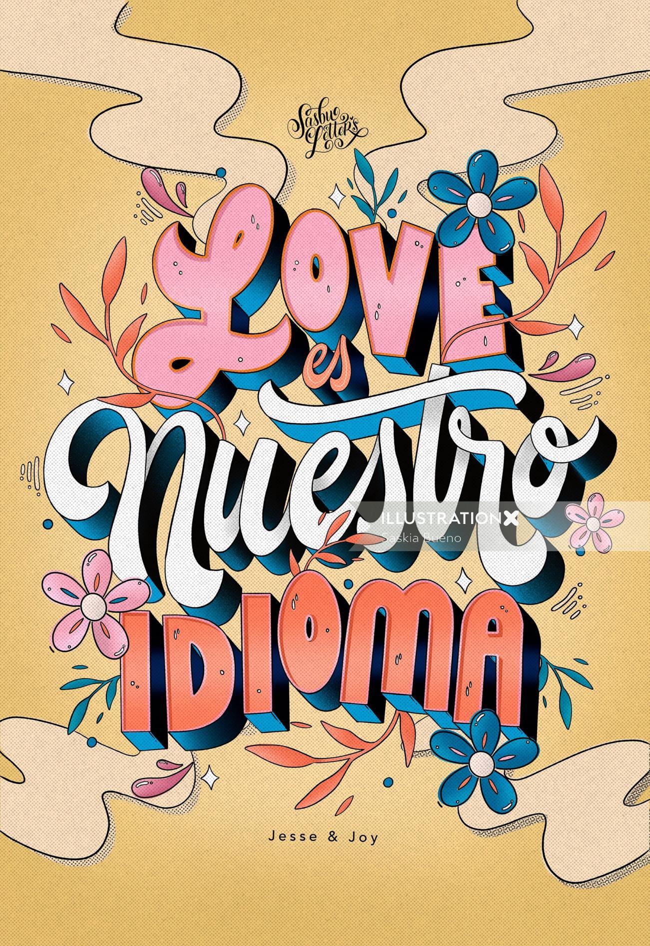 Love Nuestro Idioma lettering illustration