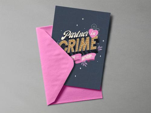 Parceiro no design de cartão postal de crime