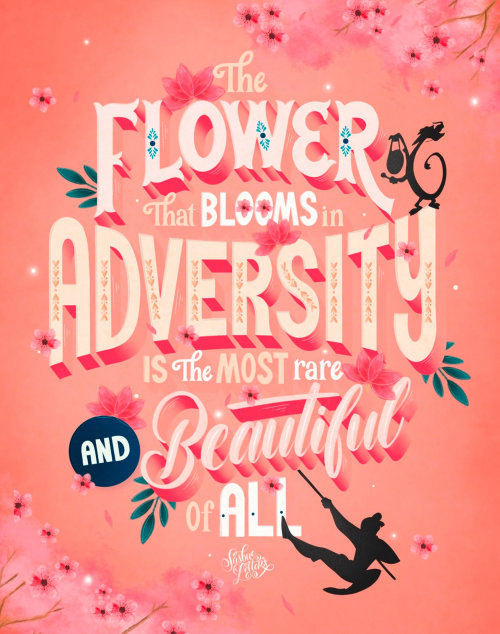 Letras da arte da flor que floresce na adversidade